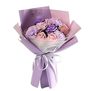 Artificial Carnation Flowers for Party Home Decoration Preserved Flower Pink Carnation Soap Bouquet Rose Flower Artificial Carnations for Decoration (A)