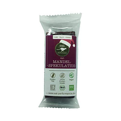 eat Performance® Mandel Spekulatius Riegel (40g) - Bio, Paleo, Vegan, Glutenfrei, Laktosefrei, Ohne Zuckerzusatz, Weihnachtsprodukt Aus 100% Natürlichen Bio Zutaten