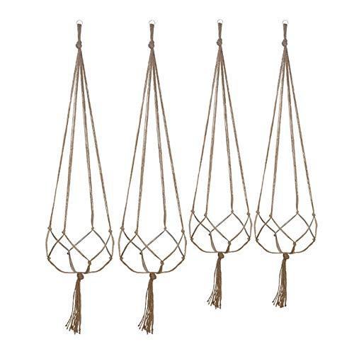 Yyuezhi 4 stuks plantenhangers bloempot plantenframe kant hangmand katoen touw opknoping bloemenstandaard tuindecoratie geschikt voor balkontuin beplantingsproject