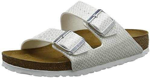BIRKENSTOCK Damen Arizona Sandalen, Weiß (Noir Magic Snake White Noir Magic Snake White), 40 EU