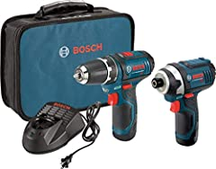 Power: This Bosch drill kit includes a Powerful 12 volt drill driver with up to 1,300 RPM and a 12 volt driver with up to 2,600 RPM Compact: The lightweight design of the PS31-2A drill driver is ideal for easy handling in overhead operations and tigh...