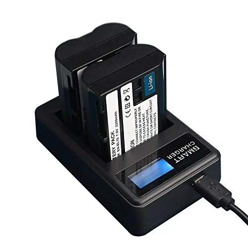 Yangers Juego de 2 baterías EN-EL15 de 2200 mAh y cargador USB dual para Nikon D500 D600 D610 D750 D800 D800E D810 D810A D850 D7000 D7100 D7200 D7500 Nikon 1 Z6 Z. 7.
