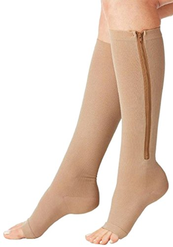 Aniwon Compression Socks Toe Open Leg Support Stocking Knee High Socks with Zipper Beige,Large