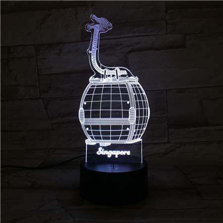 Bestseller Novetly 3D LED Tischlampe Kinder Geschenk Singapur Mark Einzigartige Kinder Dekoration Nachtlicht