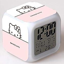 Hello Kitty Maruko 7 Colors Changing Digital Clock LED Alarm Clock Lovely Cartoon Night Light Alarm Clock for Kids,Birthday Gifts,Style 51