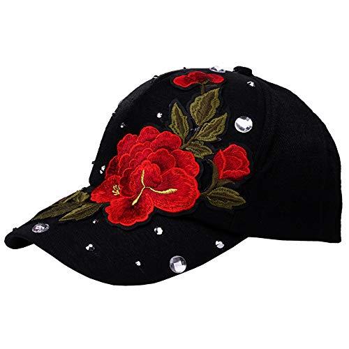 MTFS Damen Strass Große rote Blume Kappe Trucker Hat Baseball Cap (Schwarz)