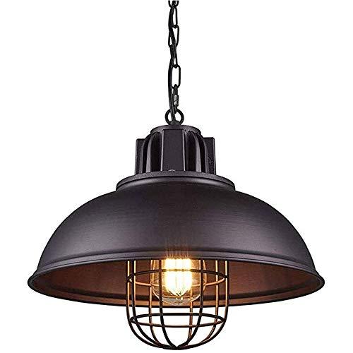 Lámpara de Techo Vintage Industrial Lámpara Colgante Retro de Metal Negra Lámpara de Techo LED Ajustable en Altura, Iluminación de Techo de Interior para Cocina Comedor Restaurante