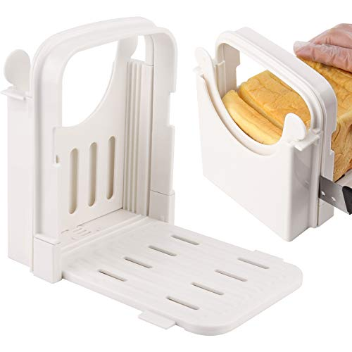 Lamoutor Bread Slicer Adjustable Bread Slicer Guide Bread Roast Loaf Slicer Cutter Bagel Cutter Slicer Foldable Sandwich Slicing Machine with 5 Slice Thicknesses