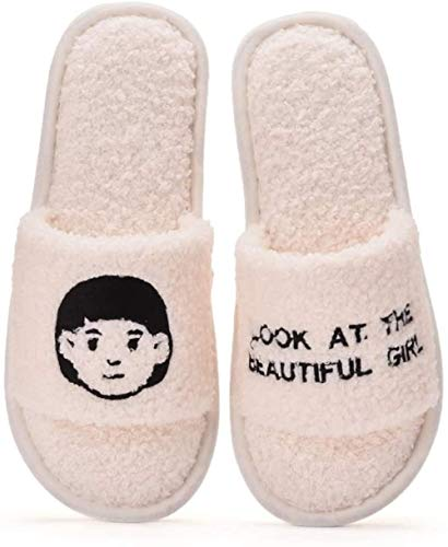 ZSW Mujeres Cálido Invierno Confort Fluffy Plush Mujer Hogar Furry Interior Casa Zapatos Señoras Dormitorio (Color: Rosa Tamaño: 40-41)-N.º 36-37_Blanco