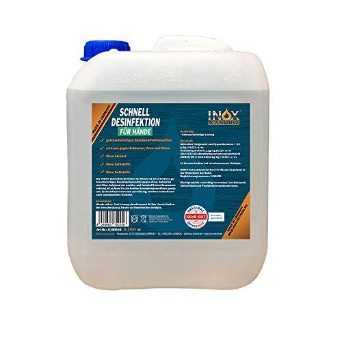 INOX® Hände Desinfektionsmittel ohne Alkohol, 5L - Händedesinfektion Handdesinfektionsmittel Entfetter Desinfektion für Hand & Haut