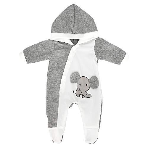 ZWOOS Puppenkleidung für New Born Babypuppen, Pyjama mit Kapuze für Puppen 35-43 cm (Grauer Elefant)