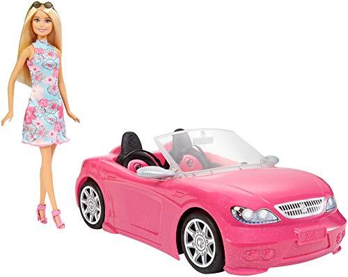 Barbie-con Auto Cabrio, Playset con Bambola e Macchina Rosa, FPR57