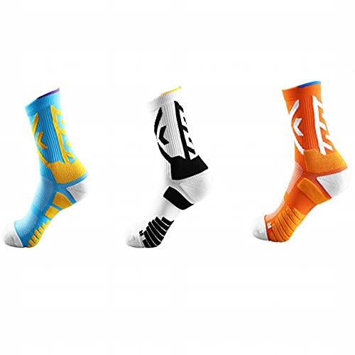 ZJKJ Calcetines De Baloncesto Calcetines para Hombres Calcetines Deportivos Profesionales Fondo De Toalla Transpirable Y Absorbente Calcetines Acolchados(3 Pares)
