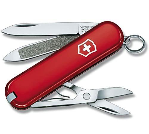 Victorinox Classic Klein Taschenmesser, 7 Funktionen, Schere, Nagelfeile, rot