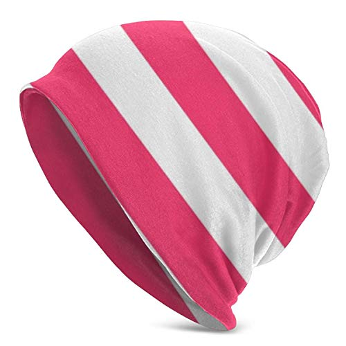 Modern Pink and White Stripes Outdoor Beanie? Hat? Soft? Stretch? Slouchy? Skully? Knit? Cap? Hip-Hop? Sleep? Cap? For? Men? and?