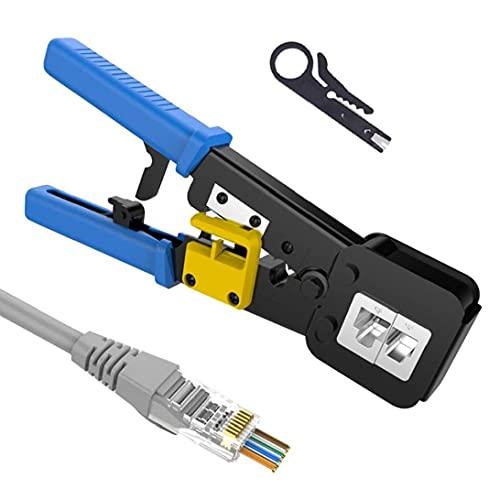 Herramienta que prensa RJ45 / 6P8P trinquete rueda a través de la herramienta de mano agujero Abrazadera de cable CAT5 Cat5e Cat6 Red Azul mano herramientas de uso