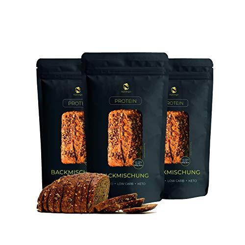 Nutringo Eiweißbrot Backmischung - 3er Pack | 20% Protein für 1,5 kg Brot | Nur 4g. Kohlenhydrate | Ohne Getreide | Ohne Gluten | für Paleo, Keto, Low Carb Diät & Muskelaufbau | auch für Diabetiker