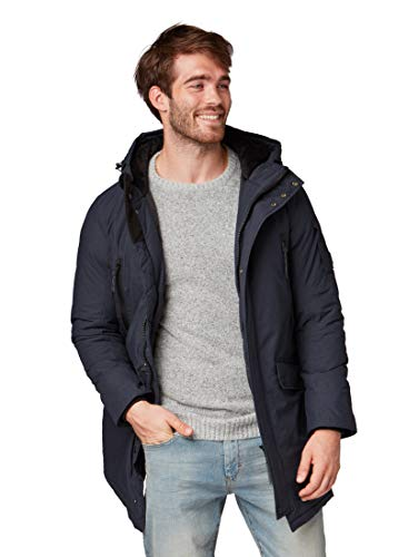 TOM TAILOR Herren Winter Parka mit Kaputze 35553420010 Jacke, Blau (Navy 6000), Large