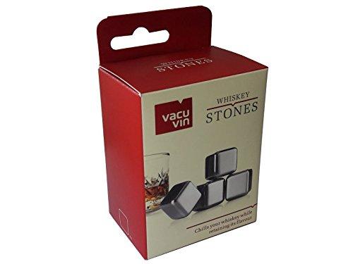 Sterngraf 4 Kühlsteine MIT Gravur (Wunschtext, z.B. Namen) Wiederverwendbare Edelstahl-Eiswürfel von vacu vin ** Whisky-Steine Ice Cubes Set - 2
