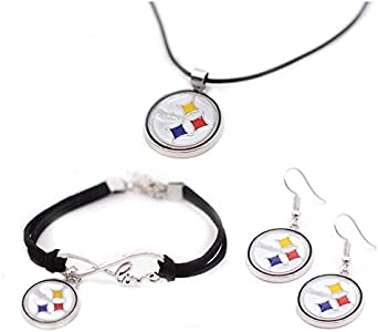 Football Team Color Cord Pendant Necklace Charm Chain Bangle Bracelet Dangle Earring Jewelry Set for Women Men,Sport Fans Must-Have Gift