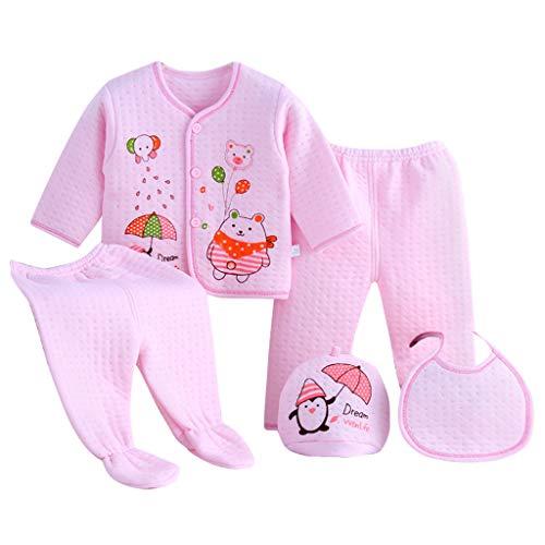 5 STKS Pasgeboren Baby Pyjama Set Jongen Meisje Cartoon Lange Mouw Toppen+Hoed+Broek +Bib Outfit Set Baby Nightwear Kleding Katoen PJS Sets Little Loung Draag Zachte Set voor 0-3 Maanden