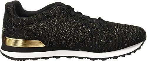 Skechers OG 85-Low Flyers, Zapatillas Mujer, Negro (BKGD Black Engineered Knit W Gold Mylar Fleck/Gold Trim), 38 EU