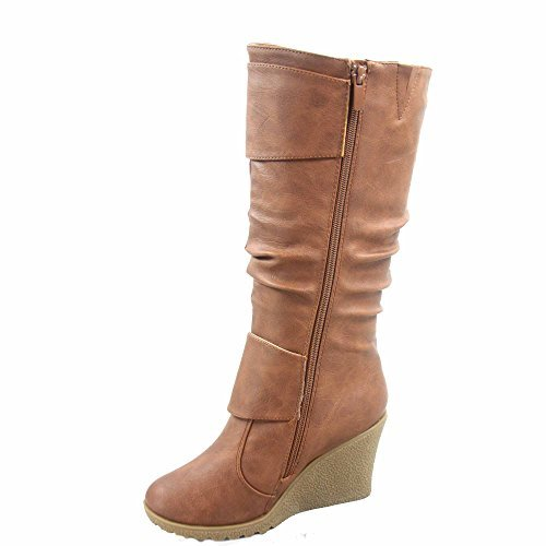 TOP Moda Pure-65 Women's Fashion Round Toe Slouch Buckle Wedge Mid Calf Boot Shoes (5.5 B(M) US, Tan)
