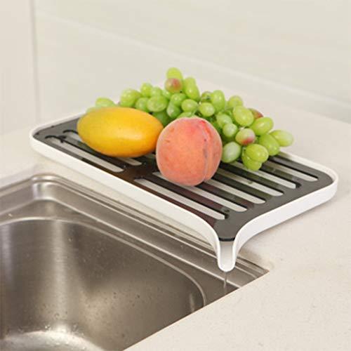 Wffo - Escurreplatos de Cocina de plástico con Doble Capa (39 x 20,5 x 2,5 cm), Color Blanco