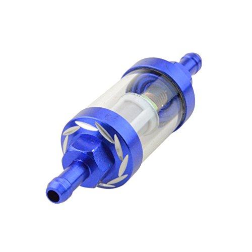 GOOFIT Bleu gastankfilter4 couleur Inline Fuel Filtres à gaz Filtre à essence Filtre à métaux universel en métal CNC de remplacement pour moto Scooter Dirt Bike