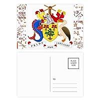 ブリッジタウンバルバドスの国章 公式ポストカードセットサンクスカード郵送側20個