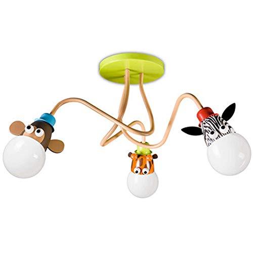 Dormitorio de los niños Techo luz lámpara Moderna de Dibujos Animados Animal romántico llevó acrílico Zoo niño niña Princesa araña para Kindergarten,3Lights