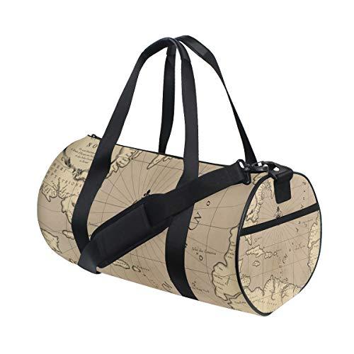 ZOMOY Sporttasche,Alte geografische Karte Atlantik Region,Neue Druckzylinder Sporttasche Fitness Taschen Reisetasche Gepäck Leinwand Handtasche