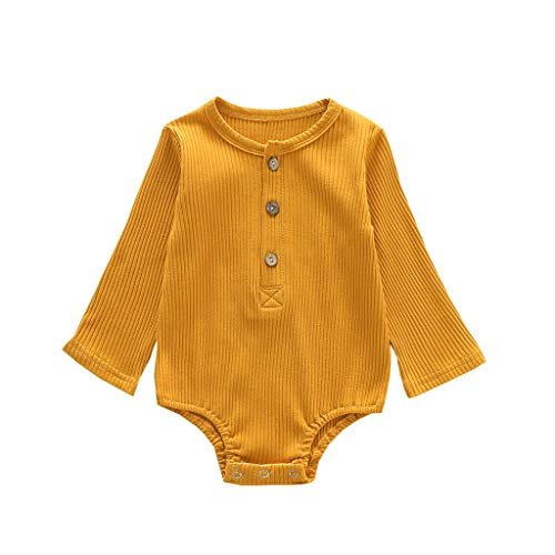 TUDUZ Conjuntos Bebé Niña Manga Larga Sólido Color Camisa Corazón Volantes Body Mono Impresión Kimono Pijama Disfraz (Amarillo.N, 80)