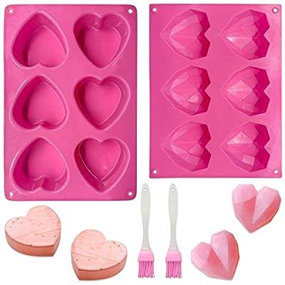 6 Holes Heart Shaped Silicone Mold  Diamond Hea...