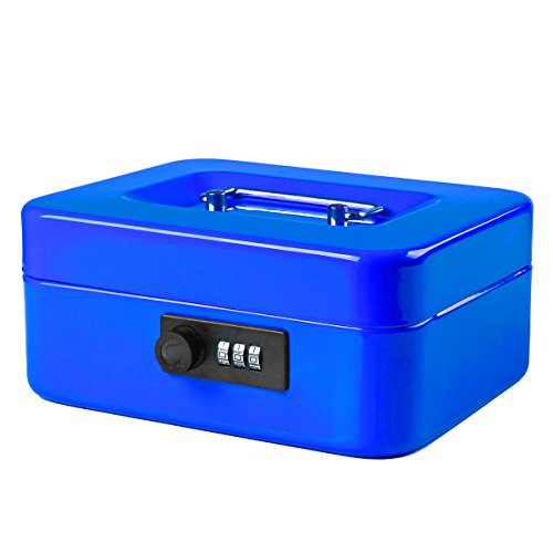 Jssmst Small Cash Box with Combination Lock – Durable Metal Cash Box with Money Tray Blue, 7.87 x 6.3 x 3.35 inches, CB0702M