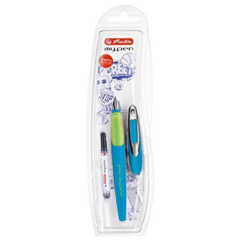 Herlitz 10999761 Schulfüllhalter (inkl. Patrone) für Rechtshänder, blau/lemon