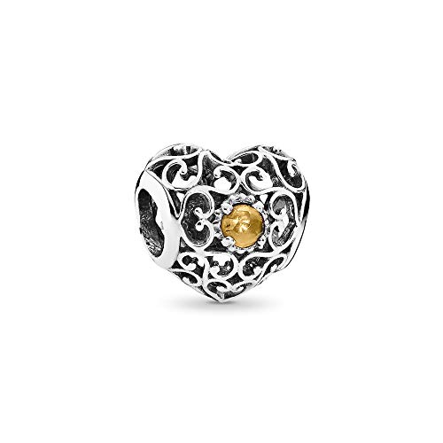Pandora Damen-Charm November Herz 925 Silber Citrin gelb - 791784CI