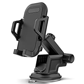 Maxboost DuraHold Series Car Phone Mount for iPhone 12 11 Pro Max Xs XR X 8 7 Plus SE,Galaxy S20 Ultra S10 S10+ S10e,Note 10,LG,Huawei,Pixel[Washable Sticky Gel Pad/Extendable Holder Arm (Upgrade)] 7 Worry Free Driving - The Durahold Series with a re-designed extendable car mount securely holds your smartphone to your dashboard or windshield providing you with a hands-free driving experience! Featuring extendable arms to accommodate smartphones of all sizes and an anti-slip pad to completely hold your device in place. (Compatible with most smartphone, including iPhone 12/11 Pro Max, XR, XS Max, 8+, X, 8 7, Galaxy S20, S20+,10, S10+, S10e,S9 S8 S7, Note 20 10, LG, Pixel, HTC and more. Easy To Install - No tools necessary for installation! Simply adhere base of Car Mount to desired surface and lock it in place. Ensure surface has been wiped down and cleaned before installing. (Note: It is highly recommended to use the Adhesive Mounting Square (included) on uneven/textured surfaces. Install car mount on top of this base for the best hold). Versatile Angles - Featuring a ball swivel for 360-degree rotation, jointed arm for easy movement and an extendable neck for extended viewing. Rotate your smartphone in any orientation (horizontal or vertical) and at any angles, giving you the most comfortable and perfect viewing experience.