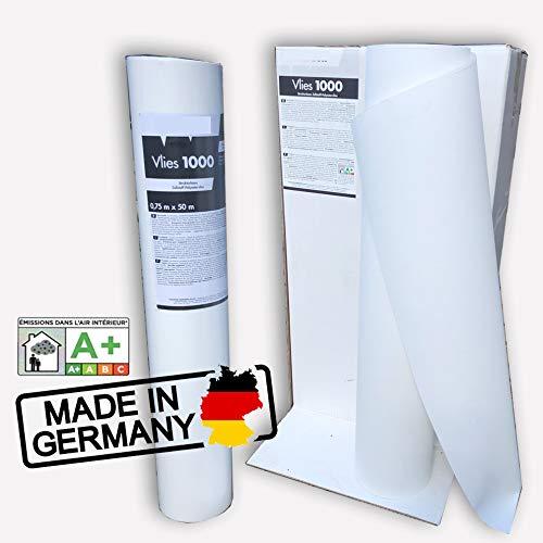 Renoviervlies 130g - 0,75 x 50m Premium Malervlies Anstrich-Vlies glatt weiß | 37,5 qm 50 Meter Rolle Strukturloses Zellstoff-Polyestervlies Dimensionsstabliel Rissabdeckend