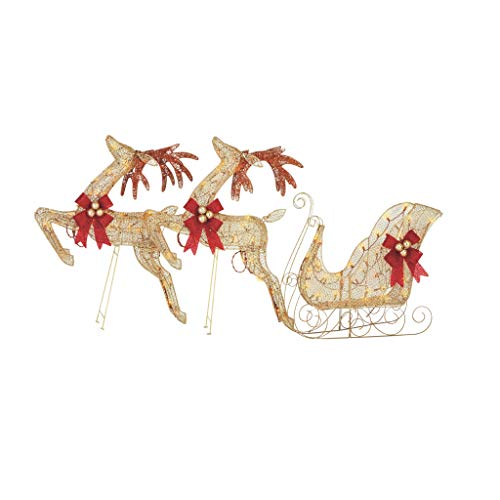 NOMA Set of 3 Pre-Lit Light Up Glittering Golden Reindeer & Sleigh | Christmas Holiday Lawn Decoration | Indoor/Outdoor