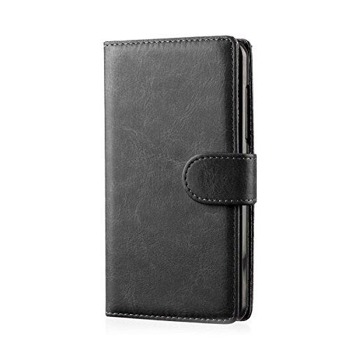 32nd PU Leder Mappen Hülle Flip Case Cover für ZTE Blade L3, Ledertasche hüllen mit Magnetverschluss und Kartensteckplatz - Schwarz