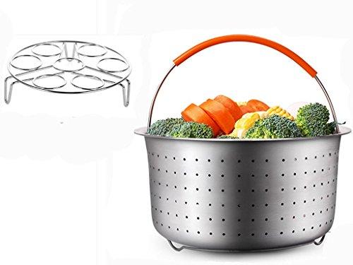 Cuiseur vapeur Panier avec Oeuf cuiseur vapeur Rack pour 6 ou 8 quart Instant Pot Autocuiseur, Homeyoo cuit vapeur en acier inoxydable,ustensile de cuisine pour viandes cuisson à la vapeur Légumes
