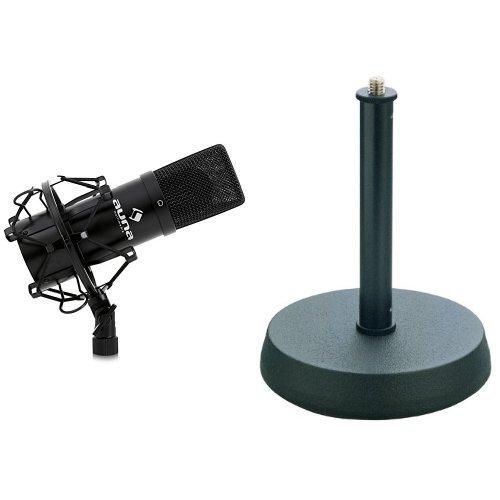 Auna MIC-900B USB Kondensator Mikrofon für Studio-Aufnahmen inkl. Spinne (16mm Kapsel, Nierencharakteristik, 320Hz - 18KHz) schwarz + König & Meyer Ständer für Tischmikrofon Bundle