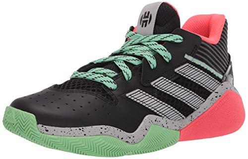 adidas unisex child Harden Stepback Basketball Shoe, Black/Grey/Glory Mint, 7 Big Kid US
