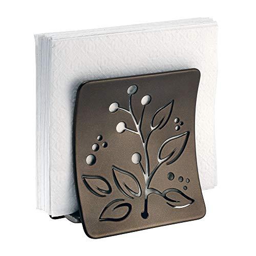 mDesign portatovaglioli in acciaio con finitura color bronzo e decoro a foglie – porta tovaglioli per piano cucina e tavola – per tovaglioli di carta o stoffa – colore: bronzo