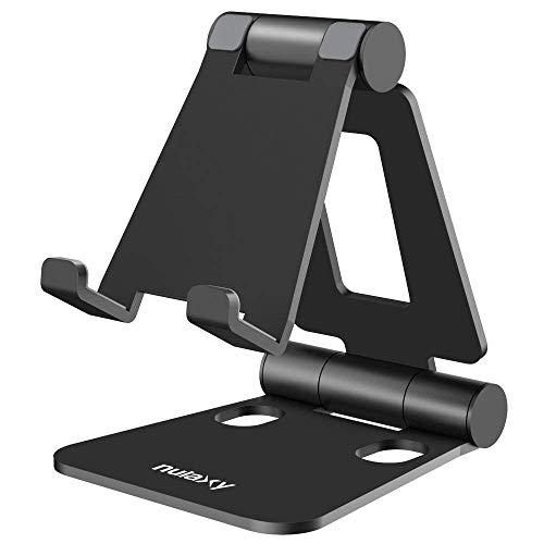 NULAXY Verstellbare Handy Ständer, Foldable Tablet Stand : Tisch Handy Halterung für Phone Xs Max, Xs, XR, X, 8, 7, 6 Plus, Pad Air 2 3 4, Mini 2 3 4 & 4-8 Zoll Device (Schwarz)