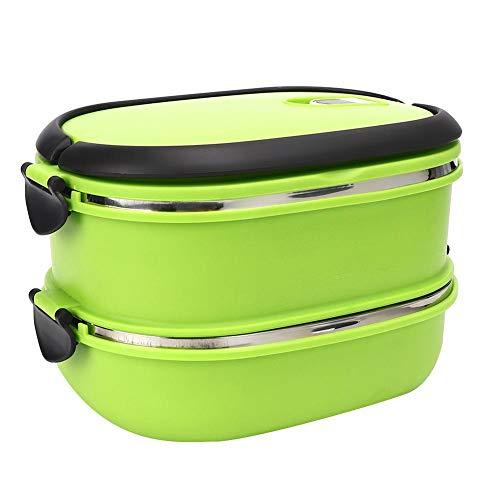 Edelstahl Bento Boxen tragbare Isolierung Thermo-Lunchbox Lebensmittelbehälter für Picknick im Freien(Double Layer)