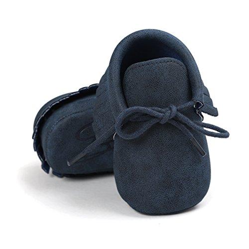 Baby Boys Girls Moccasins Soft Sole Tassels Prewalker Anti-Slip Shoes (S:0~6 Months, PU Dark Blue)