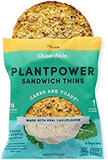 Outer Aisle Gourmet Cauliflower Sandwhich Thins   1 Serving of Vegetables per Thin   Low Carb, No Flour, Gluten Free, Paleo Friendly, Keto - Italian, 4 Pack (24 Thins)