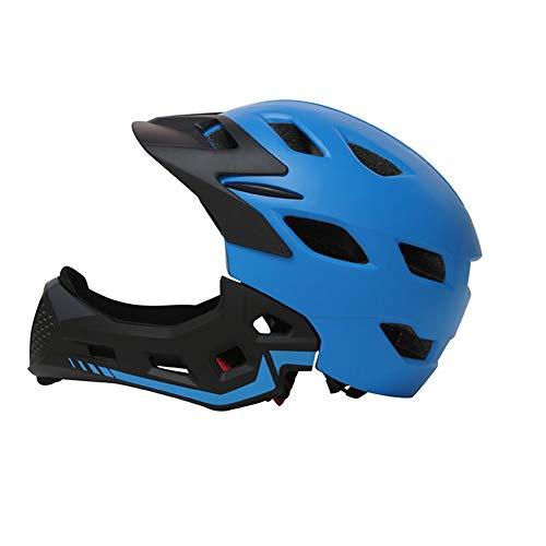 Amyove Casco para niños Cubierto Completo Equilibrio de Bicicleta para niños Casco de Cara Completa Azul Una Talla